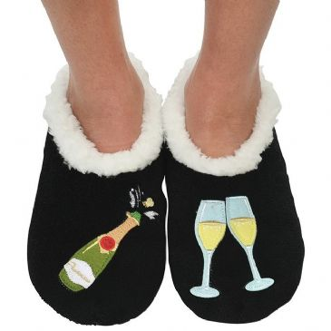 Black Prosecco Large 6-7  UK Snoozies Boozies Slippers